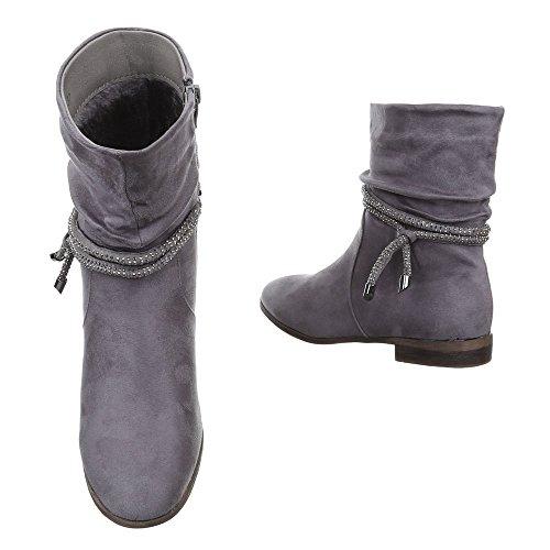 Ital-Design - Botas plisadas Mujer gris