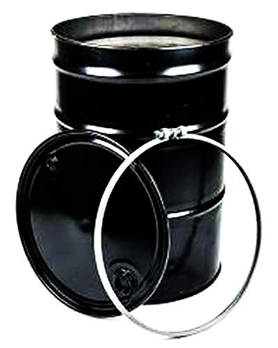 55 Gal Steel Drum Open-Head | Black with Bungs Lid Cover | Rust Inhibitor Lining | Bolt Ring Closure