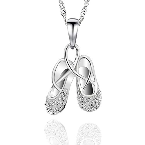 ilver Cubic Zirconia Ballet Slippers Necklace 18