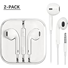 iPhone Earphones 2 Pack,Earbuds, Stereo Headphones With Mic and Remote Control for iPhone 6s 6 Plus 5s 5 SE 5c iPod iPad (white)