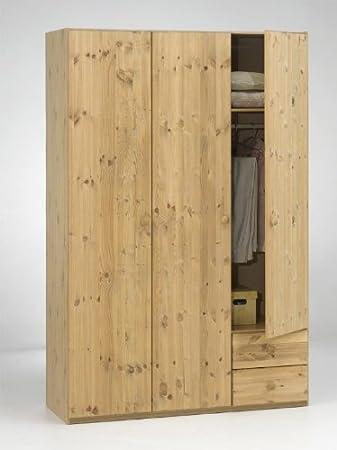 Kleiderschrank Kiefer Teilmassiv gelaugt geölt | Breite 131 cm ...