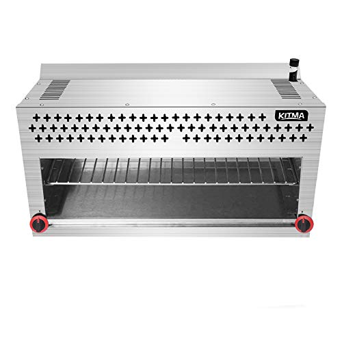 Radiant Broiler - Natural Gas Cheese Melter - KITMA 36 Inches Commercial Radiant Salamander Broiler with Ceramic Infrared Burner 2 Burners 43000BTU for Chips, Toast Sandwiches, Pizzas