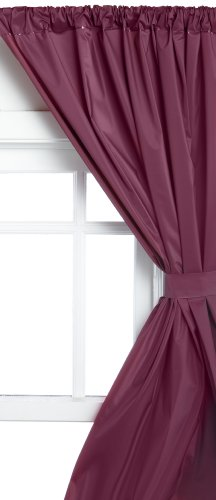 Carnation Home Fashions Vinyl Bathroom Window Curtain, Burgundy