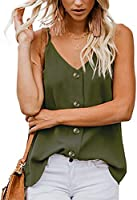 Scarmat Women's Button Down V Neck Strappy Tank Tops Sexy Loose Cami Casual Sleeveless Shirts Blouses