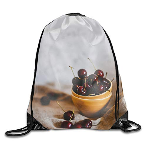 - Cherries Cherry Berry Dish Ripe Drawstring Bag Waterproof Backpack Shopping Sack Bags Unisex