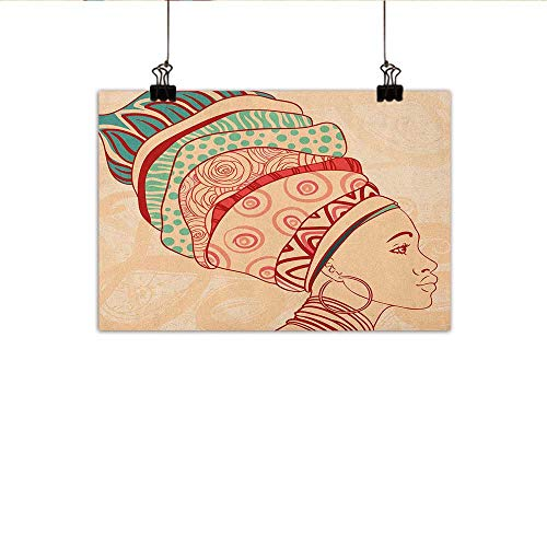 Littletonhome African Woman Modern Frameless Painting Local Female Portrait with Necklace Earring and Ethnic Turban Ornaments Bedroom Bedside Painting 20