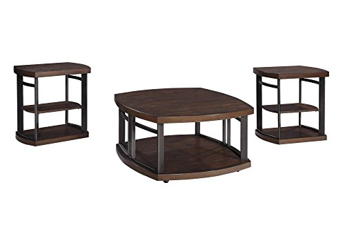 Cheap Ashley Furniture Signature Design – Challiman Occasional Table Set – 1 Coffee Table and 2 End Tables – Set of 3 – Rustic Brown