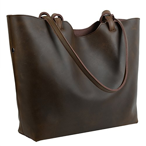 YALUXE Women's Large Capacity Crazy Horse Leather Work Tote Shoulder Bag Coffee Brown