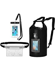 AiRunTech Waterproof Dry Bag, 10L Roll Top Compression Sack with Phone Dry Bag Case and Long Adjustable Shoulder Strap Included for Outdoor Water Sports, Boating, Hiking (10L with Window)