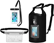 AiRunTech Waterproof Dry Bag, 10L Roll Top Compression Sack with Phone Dry Bag Case and Long Adjustable Should