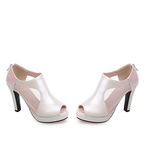 AllhqFashion Women's High Heels Solid Zipper Peep Toe Sandals White V6LpTW