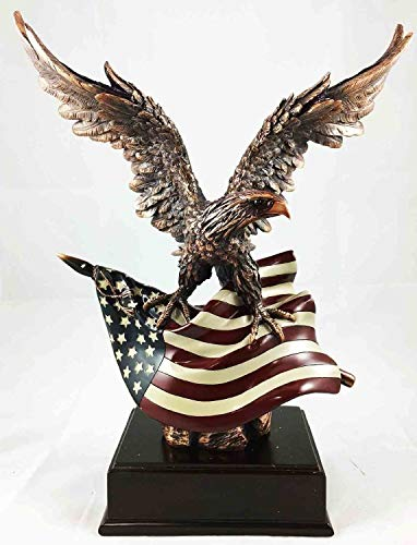 Figurine Large Wings of Glory with American Flag Bronze Electroplated with Base