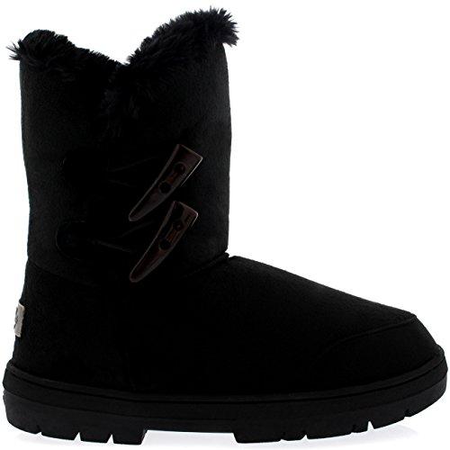 Womens Twin Toggle Classic Short Waterproof Winter Rain Snow Boots Black
