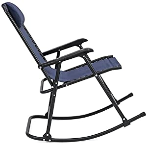 Best Choice Products Foldable Zero Gravity Rocking Patio Recliner Chair - Blue
