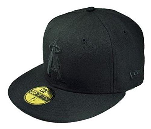- New Era MLB Anaheim Angels Black on Black 59FIFTY Fitted Cap, 7 1/4