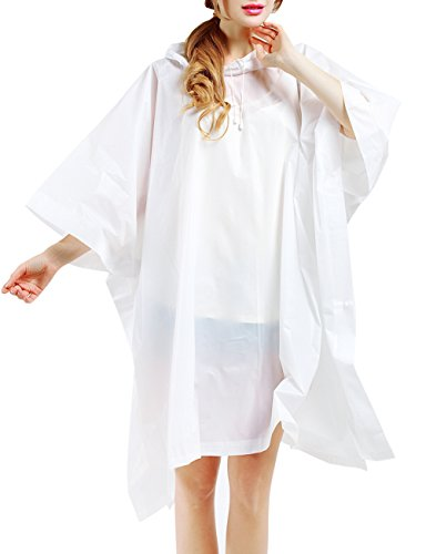 SWISSWELL Women's Poncho Waterproof Candy Color Drawstring Hooded Snaps Batwing Sleeves EVA Raincoat White