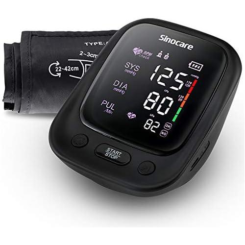chollos oferta descuentos barato sinocare Tensiómetro de Brazo Digital Automática de la Presión Arterial y pulso de frecuencia cardíaca detección 2 memorias de usuario 2 90 Batería incluida