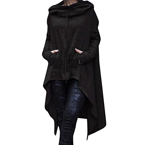 GOVOW Women Cotton Casual Soft Irregular Hem Hood Hooded Ladies Long Pullover Black