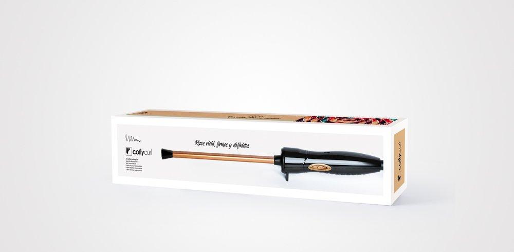 Perfect Beauty Coily Curl - Tenacilla profesional con barril rectangular extra delgado, color dorado | Revestimiento de cerámica | Rizos más pequeños, ...
