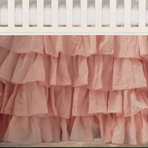 - Peach Layered Crib Skirt 16 Inch Drop 3 sided