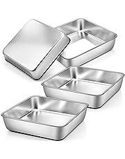 TeamFar Square Cake Pan, Square Baking Pan Stainless Steel for Cake Brownie Lasagna, Healthy & Non Toxic, Durable & Brushed Surface
