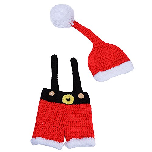 CX-Queen Newborn Baby Photography Prop Crochet Santa Claus Knitted Christmas Outfit 1 (Santa Baby Outfit)