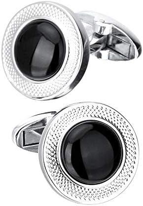 カフリンクス 1ペアメタルラウンドカフリンクスメンズスーツフレンチシャツカフスボタン付きギフトボックスクラシックデザイン ファッション アクセサリー (Color : Black, Size : 18mm)