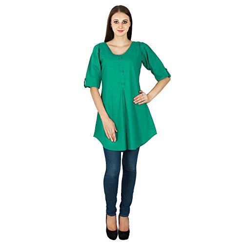 Kurti Designer Dress Tunique Bollywood Kurta Ethnique Femmes Top Cotton Vert Indiens Solides OTCUq