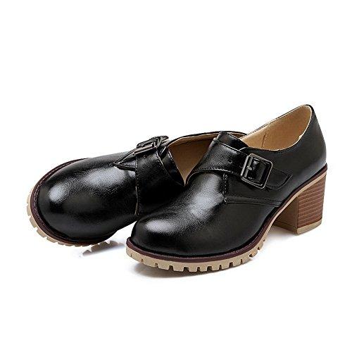 Balamasa Femmes Kitten-heels Boucle Imitation Cuir Pompes-chaussures Noir