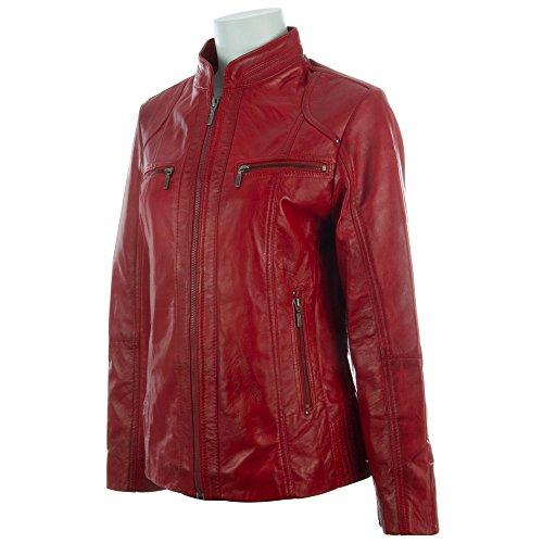 Elegante Rosso In Motociclista A Fascia obfq Giacca Morbidissima Con Collo Aviatrix Vera Donna Da Pelle ZwUf6