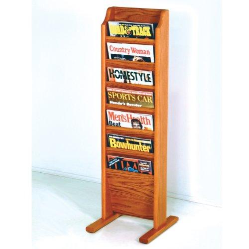 - Wooden Mallet 7-Pocket Cascade Free-Standing Magazine Rack, Medium Oak