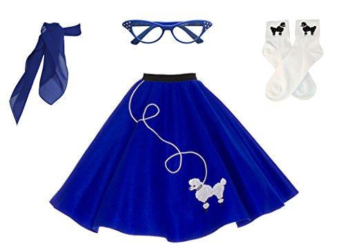 Hip Hop 50s Shop Adult 4 Piece Poodle Skirt Costume Set Royal Blue XLarge/XXLarge by Hip Hop 50s Shop