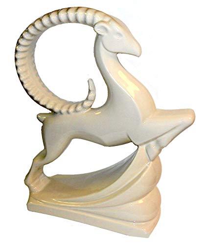 """Haeger Art Deco White Gazelle Antelope Ceramic Figure - 19"""" Tall"""