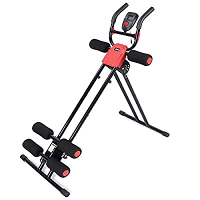 Akonza Abdominal Core Power Ab Trainer Adjustable Workout Fitness Cruncher Station with LCD Display, Red/Black