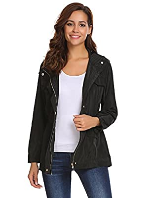 Pinspark Women's Lightweight Raincoat Waterproof Hooded Windbreaker Outdoor Jacket