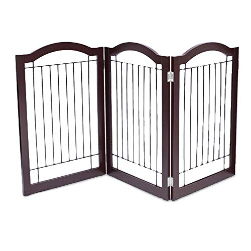 Internet's Best Wire Dog Gate with Arched Top | 3 Panel | 30 Inch Tall Pet Puppy Safety Fence | Fully Assembled | Durable Wooden | Folding Z Shape Indoor Doorway Hall Stairs Free Standing | Espresso