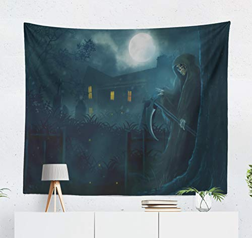 (KJONG God Behind Tree Scarecrow Halloween Dark Night Fantasy Horror Full Moon Man Decorative Tapestry,50X60 Inches Wall Hanging Tapestry for Bedroom Living)