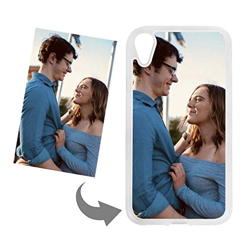 Customize Your Own Phone Case - Personalized Photo Text Logo Back Cover Case for iPhone,Birthday Xmas Valentines Gift for Her and Him (for iPhone XR,Transparent)