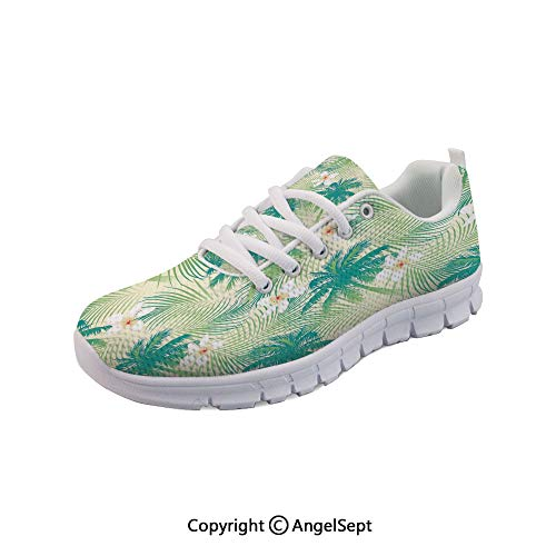 (SfeatruAngel Athletic Shoes Island Palm Tree Leaves Crepe Sports Shoes)