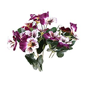 MARJON FlowersDouble Purple 5 Fork Pansy Artificial Flower Silk Flower Artificial Flower Home Wedding Garden Decor 31