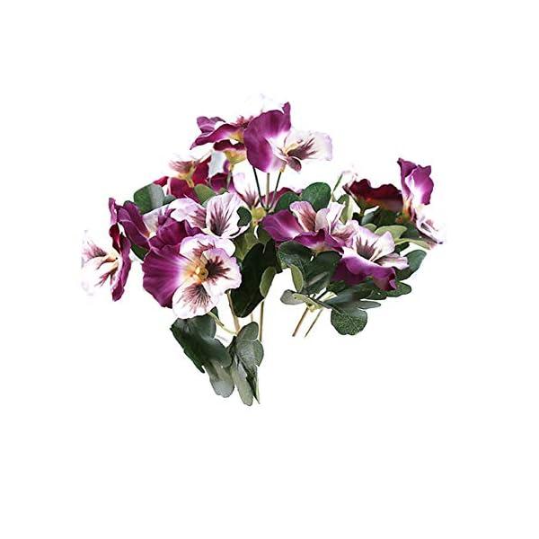 MARJON FlowersDouble Purple 5 Fork Pansy Artificial Flower Silk Flower Artificial Flower Home Wedding Garden Decor (Height 26cm, Flower Head Diameter