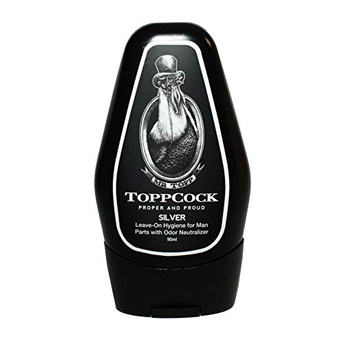 - ToppCock Silver Leave-On Hygiene for Man Parts with Odor Neutralizer 90ml