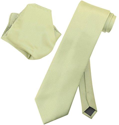 Vesuvio Napoli Solid SAGE GREEN Woven NeckTie & Handkerchief Neck Tie Hanky Set