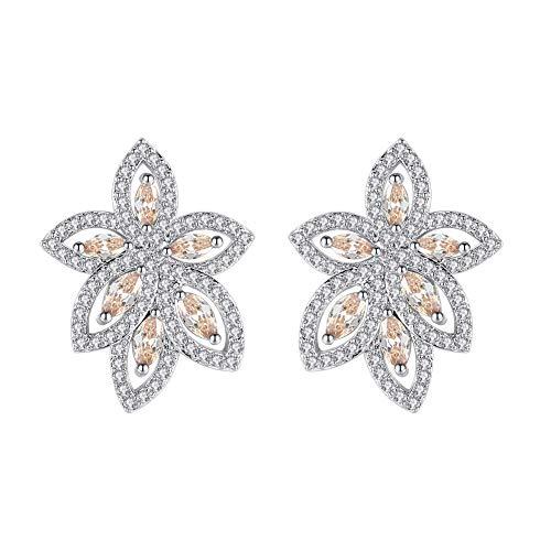 mecresh Cubic Zirconia Wedding Earrings for Bridal, Rose Gold Plating Pierced Chandelier Drop Earrings for Women.