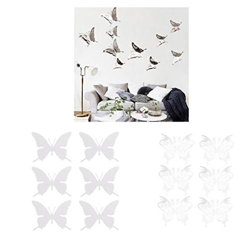Agordo Set 12pc Stainless Steel Mirror 3D Butterfly Wall Sticker Hanging - Damask Bombay
