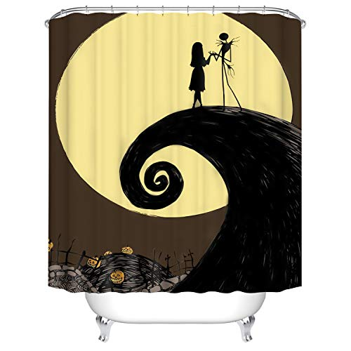 Koongso Happy Halloween Shower Curtain - Waterproof Nightmare Before Christmas Polyester Shower Curtains with Hooks Bathroom Home Decor -