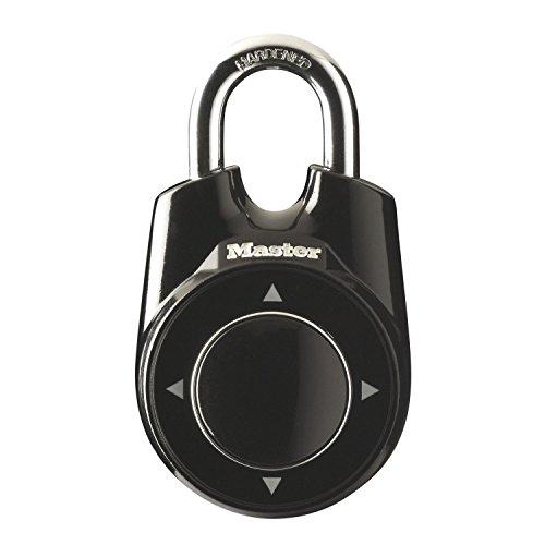 Master Lock Elektronisches Vorhängeschloss eOne mit Kombination für Umkleidekabinen, Spinde im Fitness Center oder in der Schule - schwarz - 55 mm