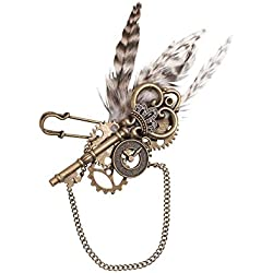 Lillian Rose BT270 Vintage Steampunk Feather Wedding Boutonniere, Multicolor