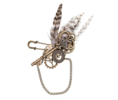 "Lillian Rose Fashionable Vintage Steampunk Feather Wedding Boutonniere, 4.5"", Multicolor"