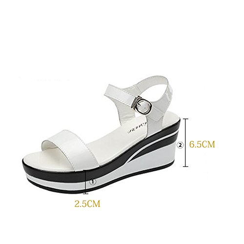 Noir taille Couleur Femmes 5 chaussures pour de HAIZHEN sandales UK5 cm d'été femmes Blanc d'été Blanc Sandales mode Pour décontractées EU38 Noir 5 CN38 6 femmes wXtRdnUq